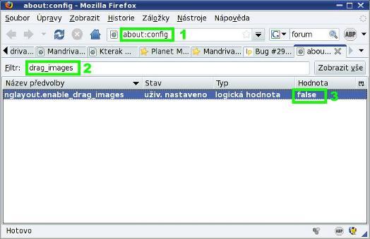 Opravené nastavení Firefoxu